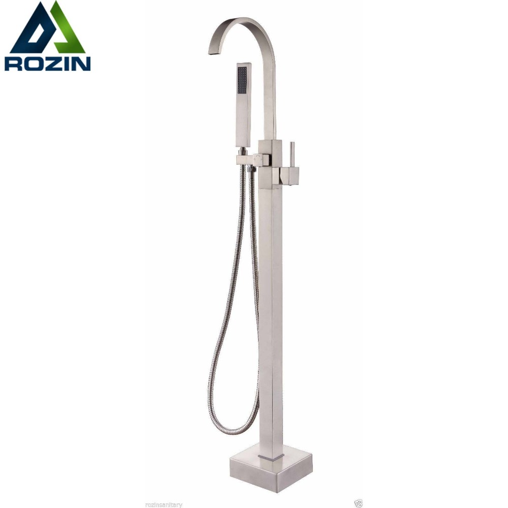 Good-quality Floor Mounted Free Standing Bathtub Faucet with Hand Shower Brushed Nickel Bath Tub Mixer Taps