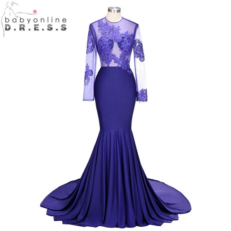 Charming Purple Long Sleeve Mermaid Evening Dresses  Sexy O Neck Backless Party Evening Gowns vestido de festa longo