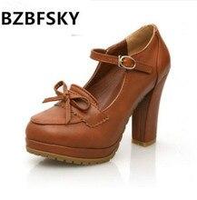 BZBFSKY Women Sweet Bowtie Platform Pumps 11 Cm High Heels Lolita Shoes Japanese Uniform Shoes Cosplay Shoes Black Brown Beige
