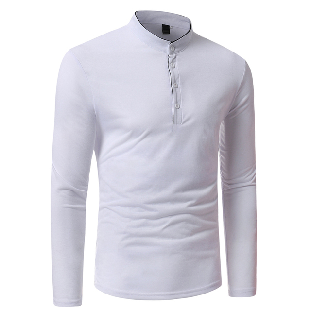 2018 New Brand Men Polo Shirt Solid Color Long-Sleeve Slim Fit Shirt Men Cotton Polo Shirts Casual Shirts XXXL T969 4