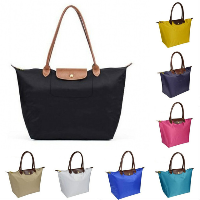 Long Size Women Handbag Nylon Champagne Tote Bags Vintage Waterproof Folding Las Messenger Bag Xl