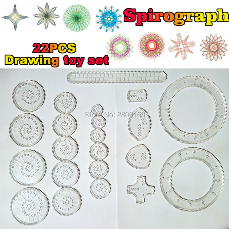 Spirograph Drawin 22PCS Accessories Creative Drawing Toys,Spiral Designs Interlocking Gears & Wheels Educational toys for kids