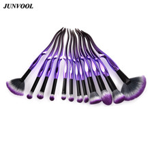 Soft Fiber Fan Brush Purple Black Foundation Powder Face Blush Contour Eyeshadow Makeup Brushes Set Beauty Cosmetic Tools Kit lovely 10pcs soft purple hair makeup brushes set purple handle cosmetic foundation eyeshadow blusher powder brush beauty tools