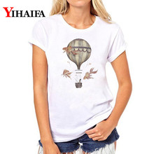 Women T-shirt Casual 3D Print hot air balloon T Shirt Short Sleeve vintage White T-shirts plus size Summer Tops