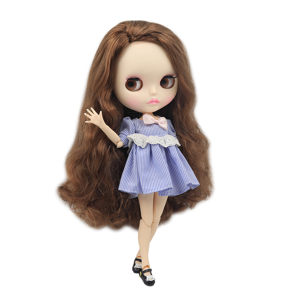 Blyth Nude Doll 1 6 Joint Body New matte face white skin Curly hair without bangs