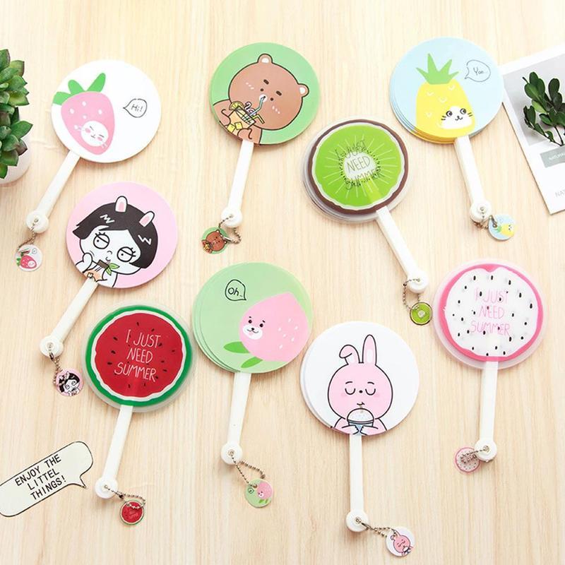 Cute Mini Cartoon Fan Hand Portable Beautiful Printing Fans For Children Kids Cooling Summer Fan Party Gift 1pc Random ASZ6098