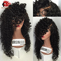 Side Parting 4x4 Silk Top Glueless Full Lace Wigs Kinky Curly Virgin Brazilian Full Lace Human Hair Silk Base Wig With Baby Hair