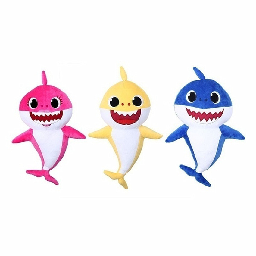 New 32cm Soft Doll Cuddly Animal Plush Doll Shark Toy Cartoon Shark Toy with Music Gift for Children and Girls