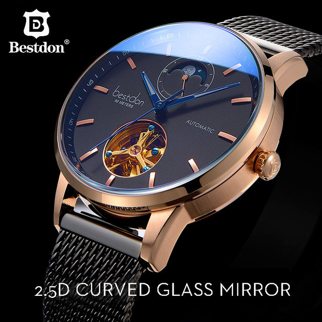 Bestdon Luxury Mechanical Watch Men Automatic Skeleton Wristwatch Curved Mirror Waterproof Watches Switzerland Brand Fashion New 1