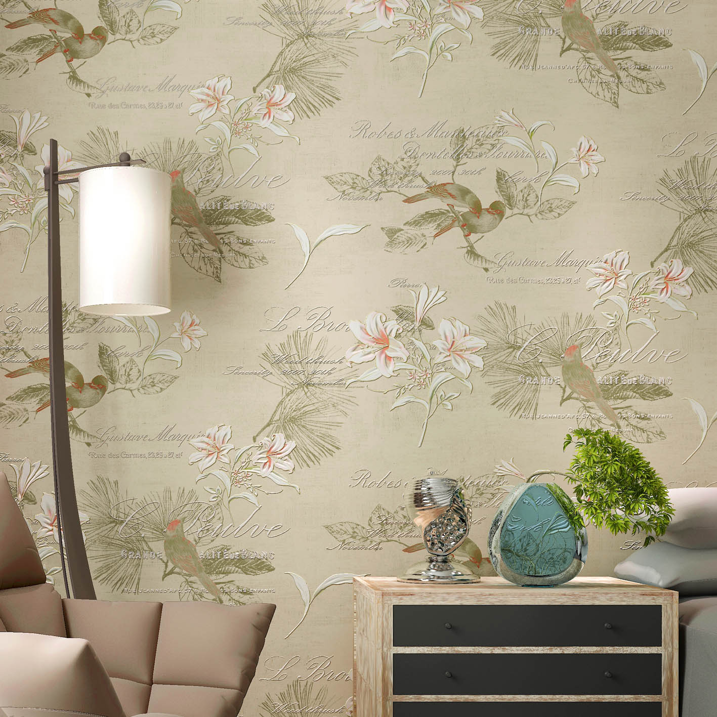 0.53x10m hand - painted flowers and birds pattern non - woven wallpaper living room bedroom study room wedding shop  wallpaper0.53x10m hand - painted flowers and birds pattern non - woven wallpaper living room bedroom study room wedding shop  wallpaper