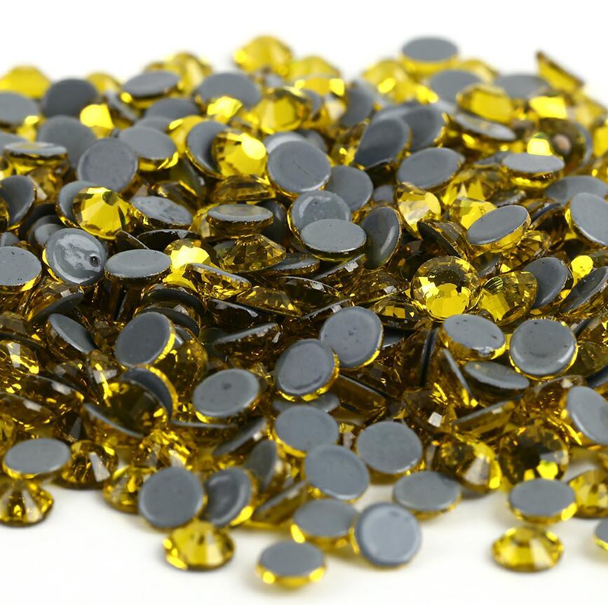 Все размеры 40 цветов кристалл AB исправление стразы, Стекло Стразы исправленное железо на Стразы для дизайна ногтей шитье и ткань Decoretion - Цвет: Citrine