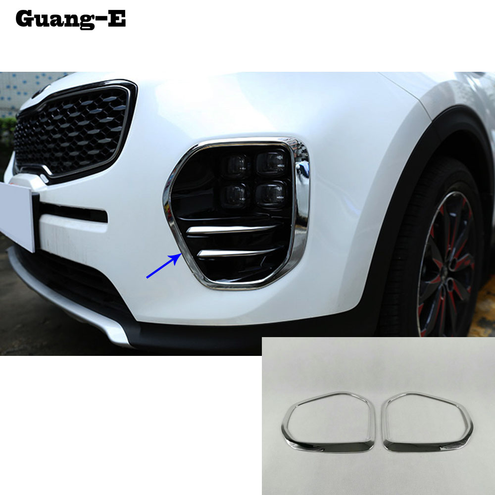 Hot Sale High Quality Car Body Head Front Fog Light Lamp Frame Stick Kia Sportage Wiring Styling Abs Chrome Trim 2pcs For Kx5 2016 2017 2018