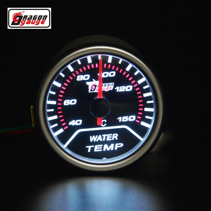 52 미리메터 포인터 자동차 오토바이 레이싱 수리 물 온도 게이지 화이트 백라이트 40-150 섭씨 무료 배송