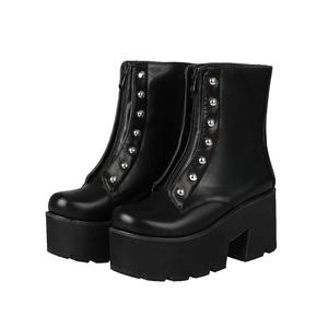 Image 3 - MORAZORA Plus size 34 46 Hot sale thick bottom ankle boots women shoes rivets zip soft pu leather thick sole platform boots