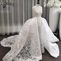 Дубай кружево Свадебные платья 2018 со съемным шлейфом Саудовская в арабском стиле Свадебные платья над юбкой аппликации Abiye Vestidos De Noiva