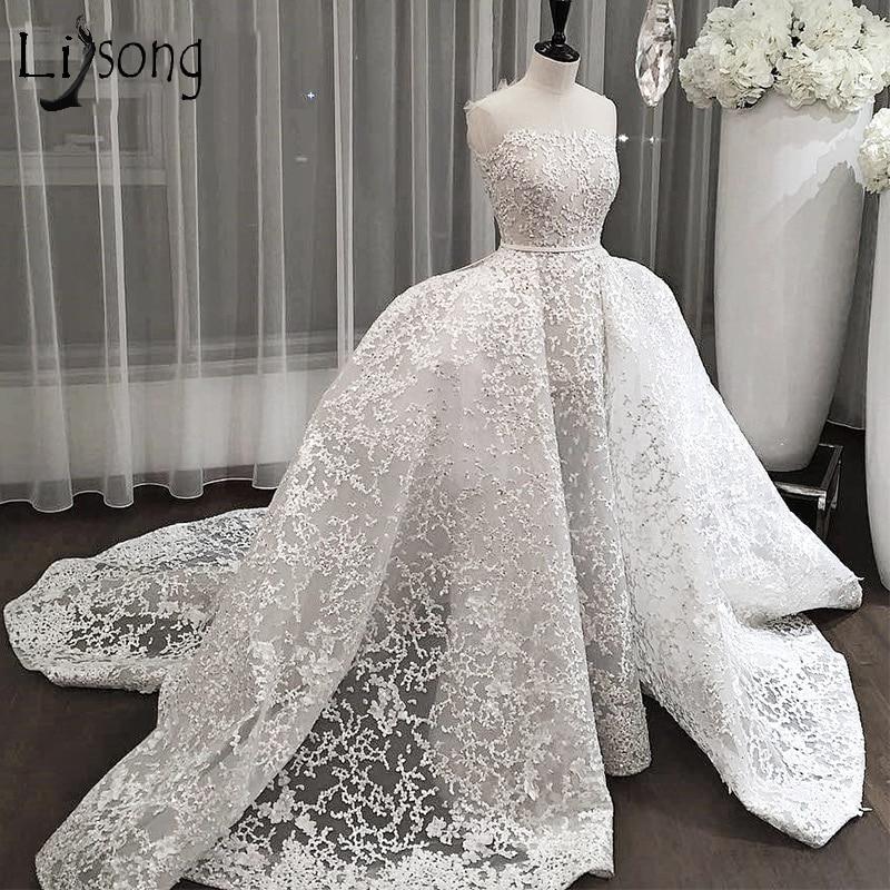 Dubaï Dentelle Robes De Mariée 2018 Avec Train Détachable Saoudien Arabe Robes De Mariée Sur-jupe Appliques Abiye Robes De Noiva