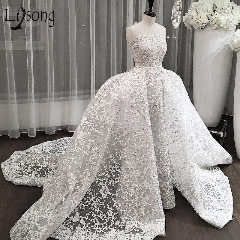 Дубай Кружево Свадебные платья 2018 со съемным Поезд Саудовская Арабский Свадебные платья выше юбка аппликации Abiye Vestidos De Noiva