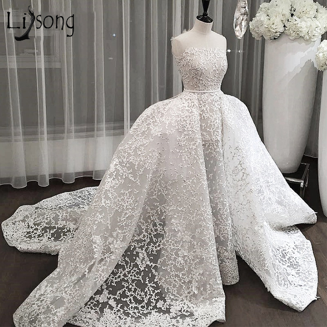 Dubai Lace Wedding Dresses 2018 With Detachable Train Saudi Arabic Bridal Gowns Over-skirt Appliques Abiye Vestidos De Noiva
