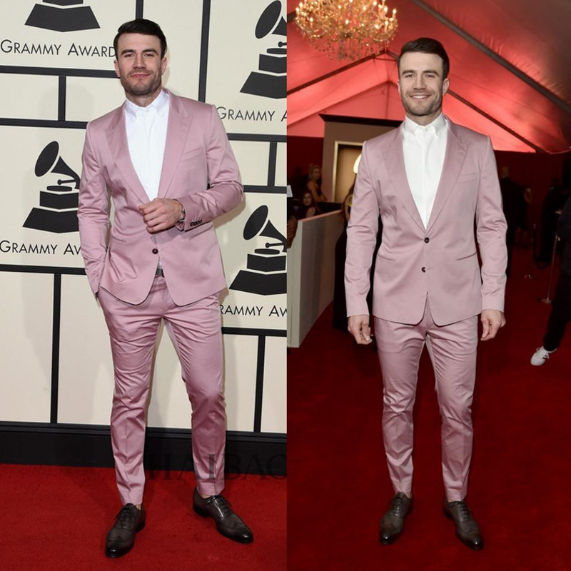 New Grammys Cool Mens Suits Two Buttonstuxedo High Quality Pinstripe Wedding Tuxedos With Back Casual Blazer(jacket+pants)