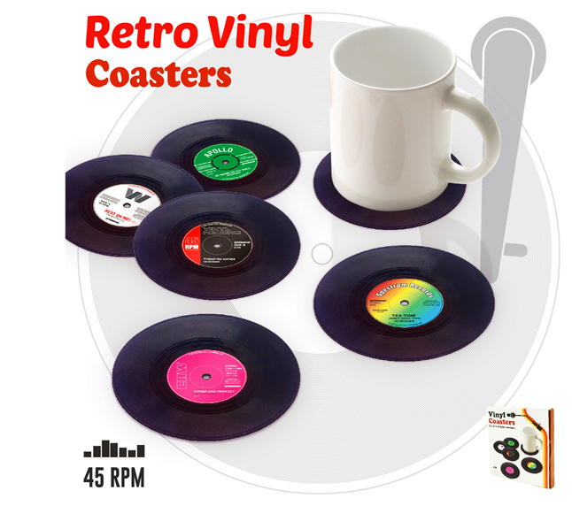 Hot Sales Set Creative Home Table Cup Mat Decor Coffee Placemat Spinning Retro Stylish Vinyl Pcs White Dining