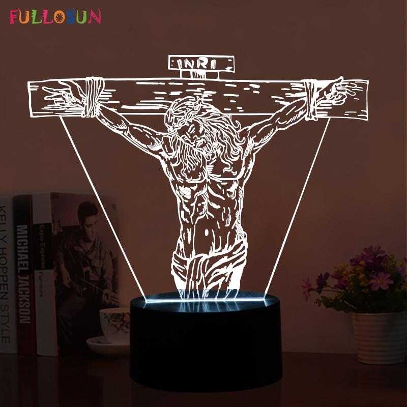Uutuustuote 3D-LED-yövalaisin Jesus Shape Micro USB Table Touch -valaisin.
