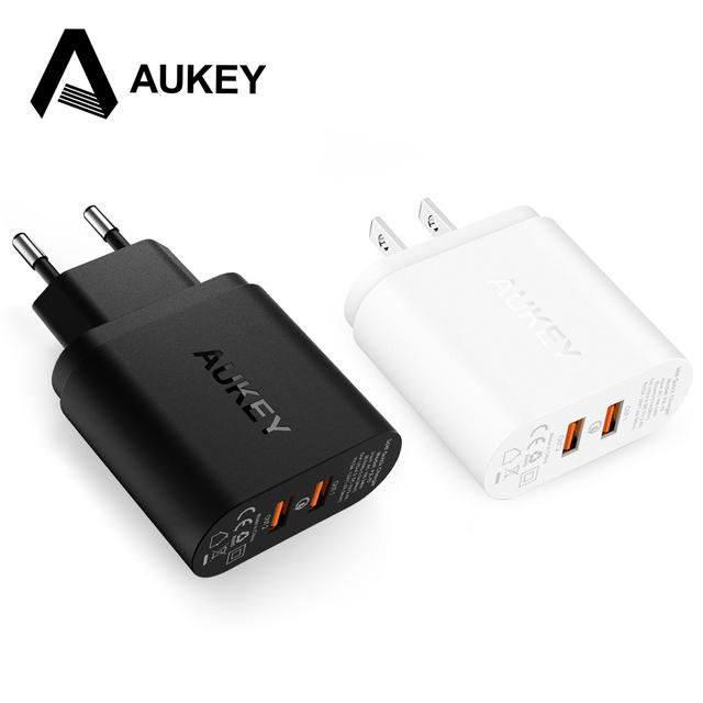 Aukey 2 portas qualcomm carga rápida 2.0 36 w rápido inteligente usb parede/carregador de viagem para samsung sony htc xiaomi lg g5 iphone 6 s 7 etc