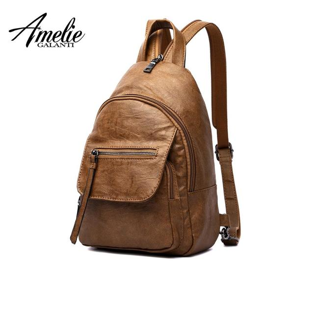 AMELIE GALANTI Luxo Mulheres de Couro Mochila de Viagem Mini Backpack Mochilas Escola Bags Mulheres Bolsa de Ombro Da Senhora Da Forma Mochila
