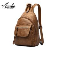 AMELIE GALANTI Luxury Leather Women Backpack Travel Mini Backpack Mochilas School Bags Women Shoulder Bag Fashion Lady Backpack Fashion Backpacks