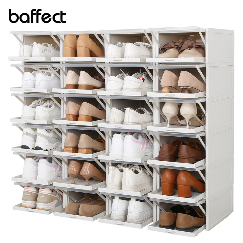 Baffect sapatos rack conjunto de 3 caixas de sapatos de plástico empilhável gavetas de armazenamento caixas organizador de sapato para sapatos de salto alto esportes