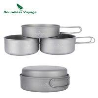 Boundless Voyage Outdoor Ultralight Titanium Pot Set Cooking Pot Camping Pan With Folding Handle Ti1575B Ti1576B