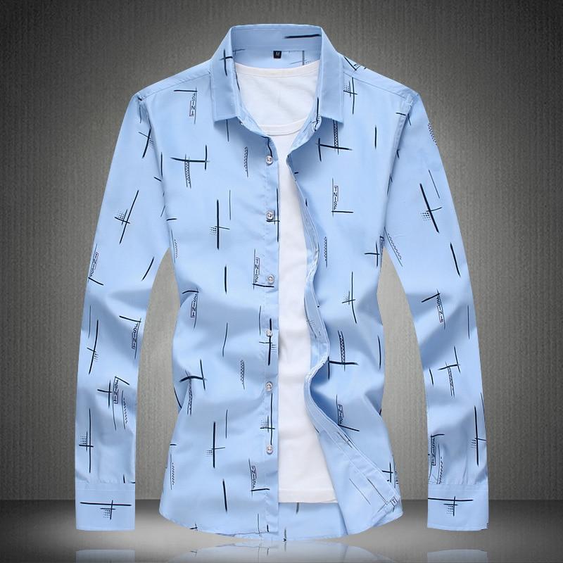 Men Shirts Long Sleeve Summer Print Shirt 2018 Mens Dress Shirts Casual Fashion White Blue Plus Size M- 4XL 5XL 6XL 7XL #3013 2