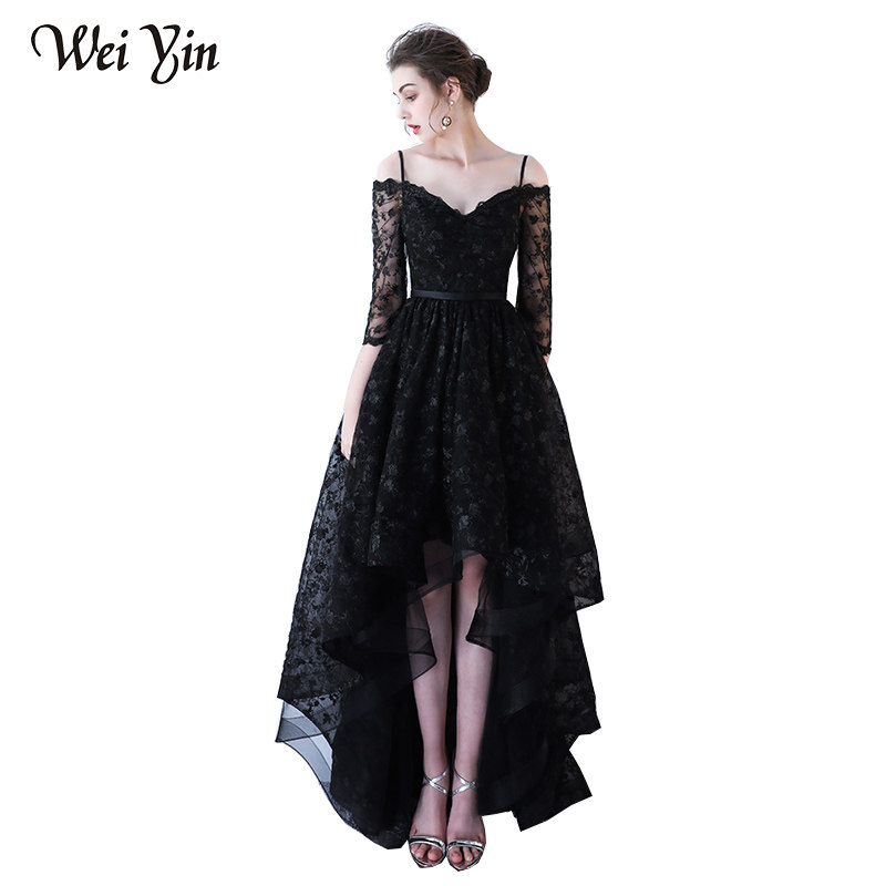 4c278749c8dab WEIYIN New Arrivals Short Evening Dresses Woman Lace High-Neck Black A-Line  Party Gown Custom Formal Dresses Simple Lace DIY