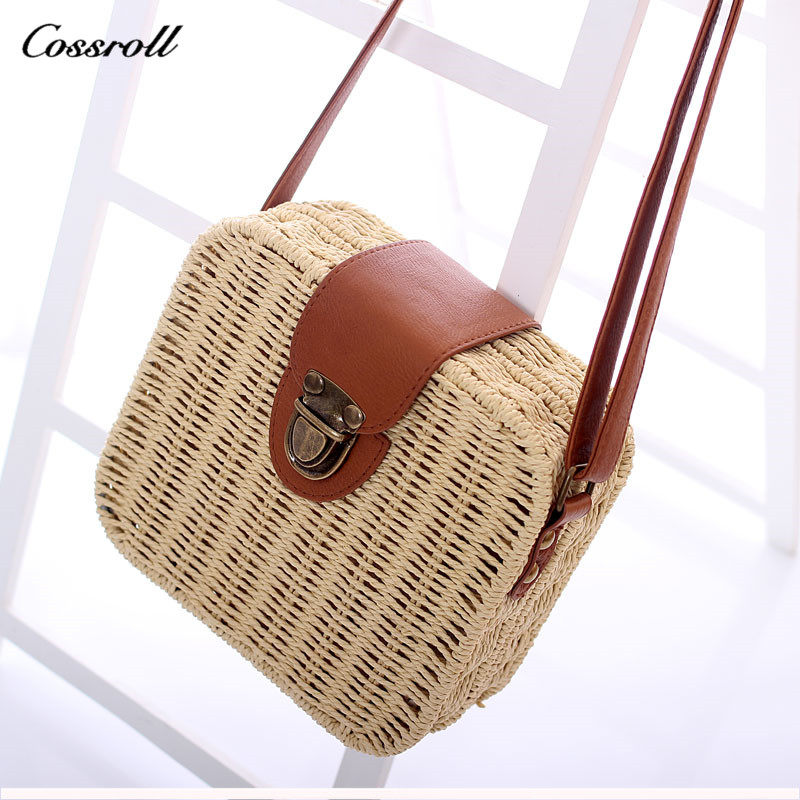Hot Sell candy color straw bag women messenger bags small ladies summer beach shoulder rattan bag crossbody bags for woman 2018 rattan bag ins hot small round crossbody bag mesh women messenger bag hollow out floral designer straw beach bag for vacation