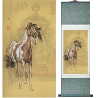 Traditional Chinese art painting Horse art painting Silk scroll art painting Horse painting 042010