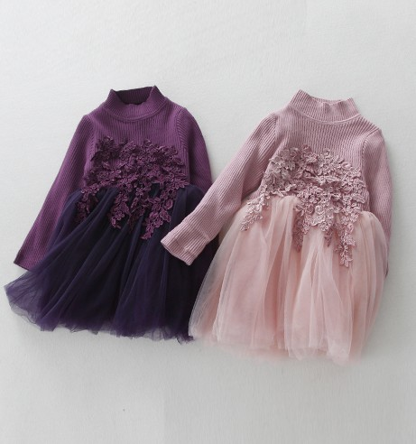 ФОТО Winter new girl baby princess thickening plus sweater knit dress