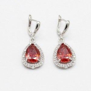 Image 4 - אדום מעוקב Zirconia לבן אבנים כסף צבע תכשיטי סטי שרשרת תליון צמידי עגילי טבעות לנשים משלוח אריזת מתנה