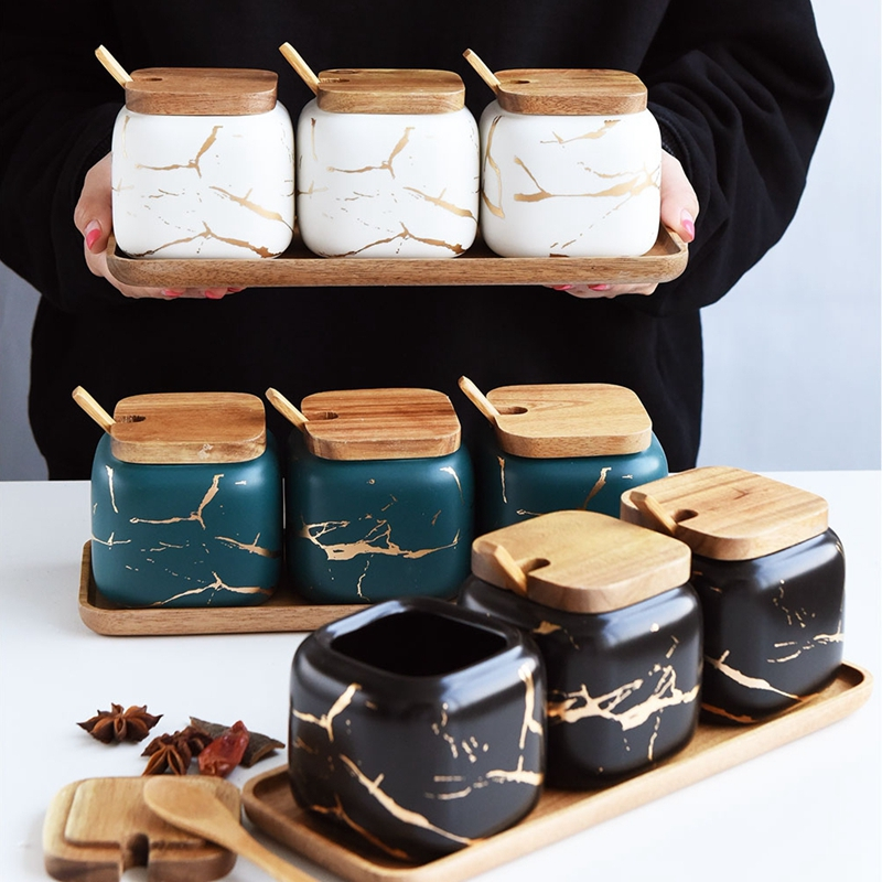 Ensemble de cruet de cuisine en marbre avec couvercle en bois et plateau ensemble de rangement de condiments pour pot à épices de cuisine