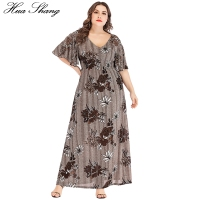 Plus Size Dress Summer 2019 Women V Neck Flare Short Sleeve Floral Print Vintage Dress Elastic High Waist Tunic Beach Dresses