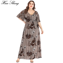 Plus Size Dress Summer 2019 Women V Neck Flare Short Sleeve Floral Print Vintage Dress Elastic High Waist Tunic Beach Dresses plus size flare sleeve handkerchief tunic top