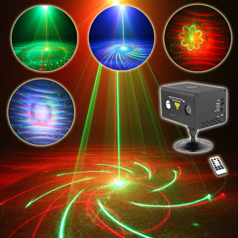 ФОТО 20 kinds of patterns RGB Light And Music Mini Laser Projectors Stage Lighting Effect For The  Disco Wedding Birthday Party