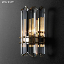 Retro American style LED Wall Light Fixture Crystal Wall Sconce Lustres Beside Lamps for Bedroom Bathroom