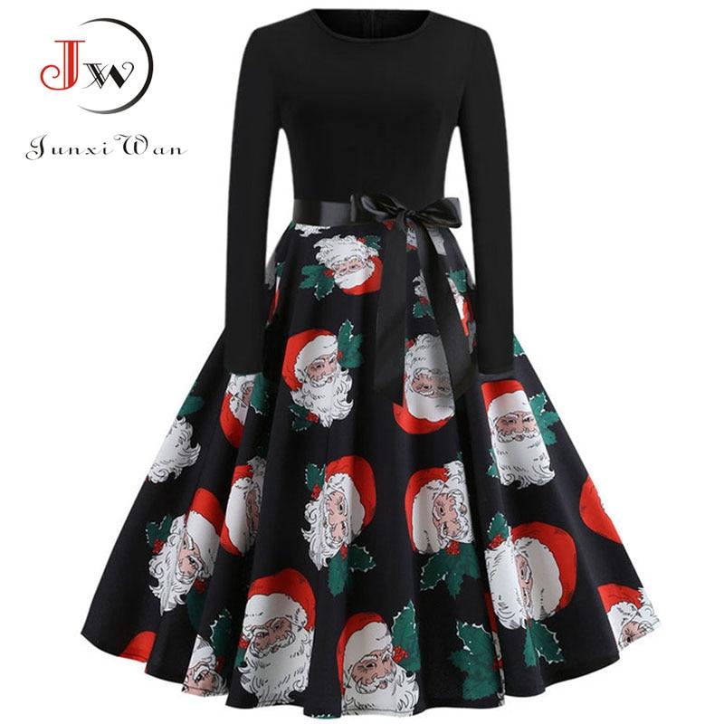 Winter Women Christmas Dress Long Sleeve Print Vintage Party Dress Elegant Black Patchwork Bodycon Dresses Vestidos Plus Size 31