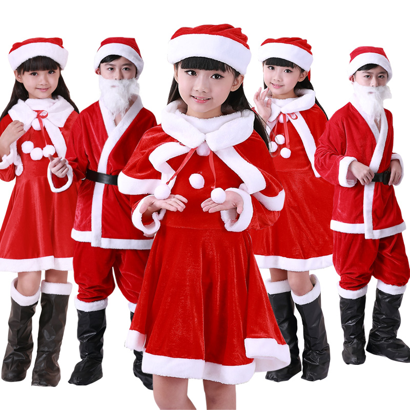 2018 Hot Sale Boys Girls Red Santa Claus Costume Christmas Party Gift Giver Cosplay Clothes Cape Dress Hats Dress up