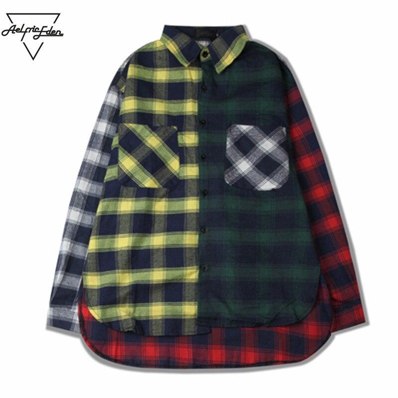 Aelfric Eden Mens Casual Shirts Color Block Patchwork Plaid Long Sleeve Shirts Hip Hop Coat Plaid Shirt Male Dress Shirt SNL790