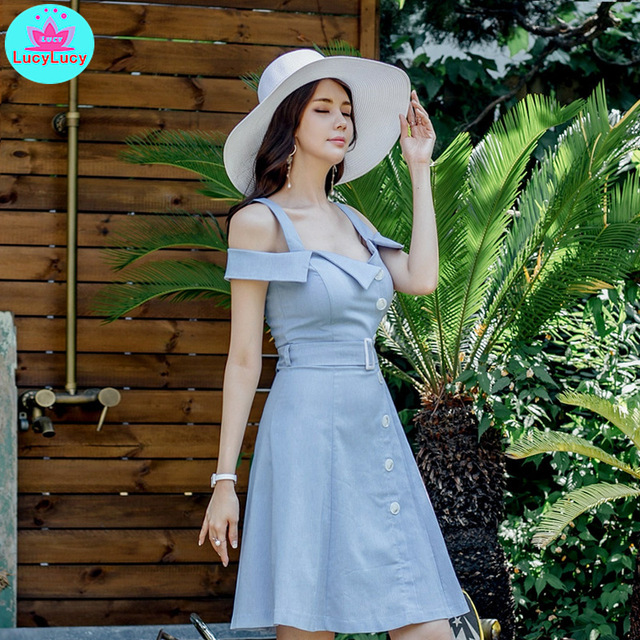 2019 summer new Korean version of the temperament word collar off the shoulder was thin   sling dress female