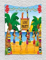 Bar Decor Tapestry Hawaiian Luau Party in Cartoon Style Dancers on Beach Festive Tradition, Wall Hanging for Bedroom Living
