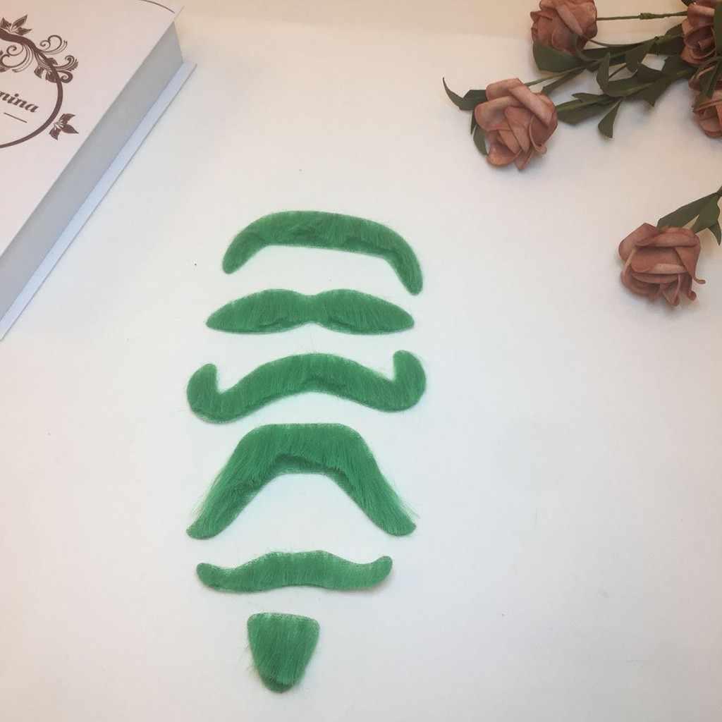 Nueva moda 2019 verde barba autoadhesivo falso bigote disfraz accesorio para St fiesta suministros venta caliente decoración del hogar divertido