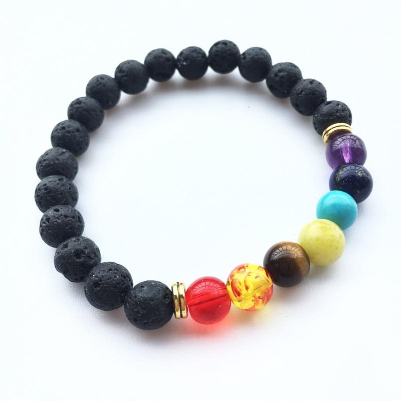 Hot Chakra 8MM Volcano Stone Beads Bracelet Colorful Glass Beads Bracelets Energy Yoga For Women Man Jewelry O-508