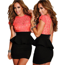 Dower Me Coral Floral Lace Peplum Dress New Sexy Fashion Women Office Short Club Wear Dress Bodycon Casual Dresses