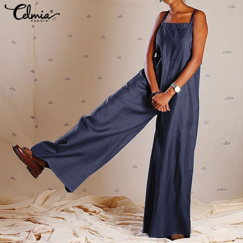 Vintage Women   Jumpsuits   2019 Summer Sexy Strappy Rompers Celmia Casual Female Wide Leg Pants Pockets Plus Size Overalls Pantalon